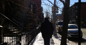 Walking on 7th Avenue Sidewalk in Winter with Snow