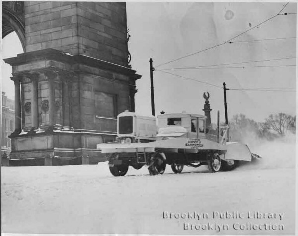 Snow Plow at Grand Army Plaza, via Brooklyn Public Library